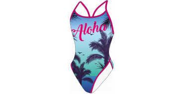 SWEAMS ALOHA BLUE - Maillot femme 1 piece bretelles fines