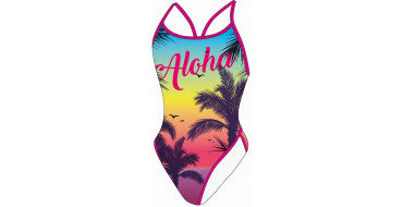 SWEAMS ALOHA YELLOW - Maillot femme 1 piece bretelles fines